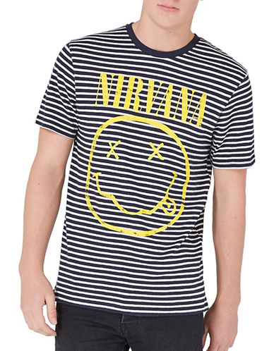 Topman Striped Nirvana T-Shirt-DARK BLUE-X-Large