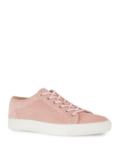 Topman Tux Circle Print Leather Sneakers-PINK-45