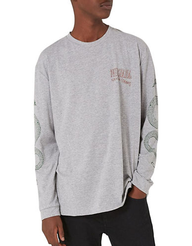Topman Oversized Nirvana Snake-Printed Shirt-LIGHT GREY-Medium