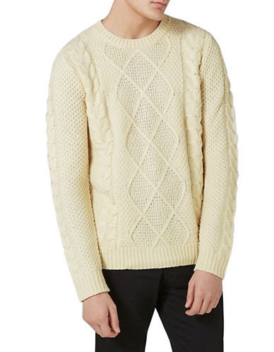 Topman Classic Fit Marble Cable Knit Sweater-CREAM-X-Large
