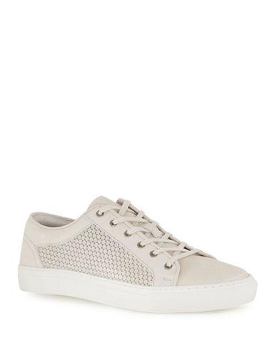 Topman Tux Circle Print Leather Sneakers-WHITE-40