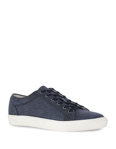 Topman Tux Circle Print Leather Sneakers-BLUE-42