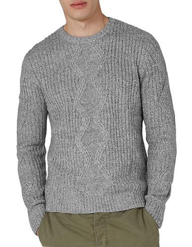 Topman Slim Fit Twist Cable Knit Sweater-GREY-Small