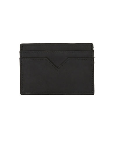 Topman Leather Cardholder-BLACK-One Size