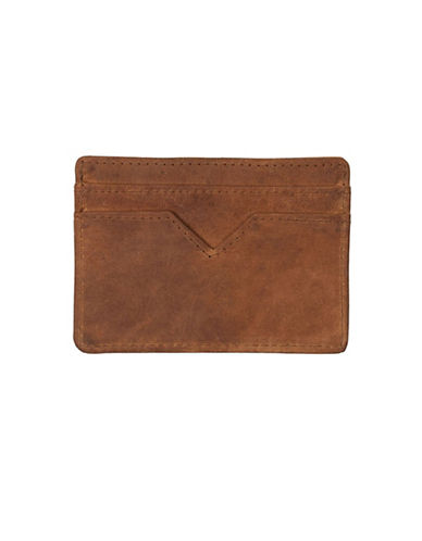 Topman Antico Leather Cardholder-BROWN-One Size