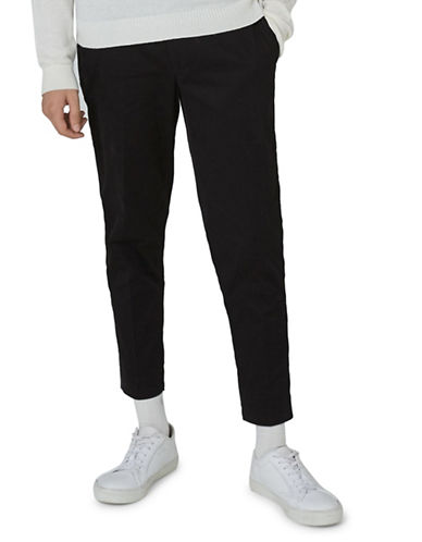 Topman Twill Tapered Trousers-BLACK-34