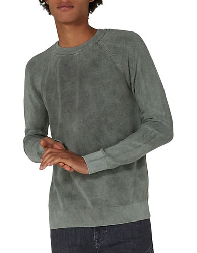 Topman Slim Fit Acid Wash Sweater-GREY-X-Large