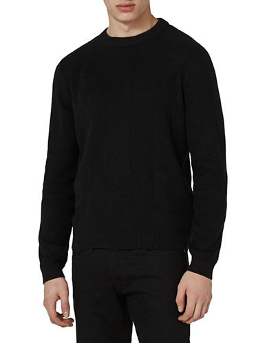 Topman Slim Fit Engineered Stitch Sweater-BLACK-Small