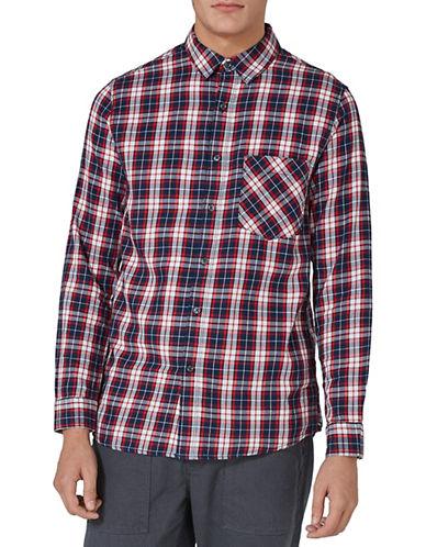 Topman Check Shirt-NAVY BLUE-Medium