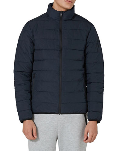 Topman Percy Classic Fit Puffer Jacket-DARK BLUE-Medium