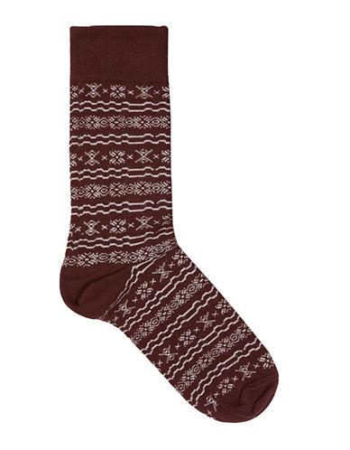 Topman Christmas Fair Isle Socks-RED-One Size