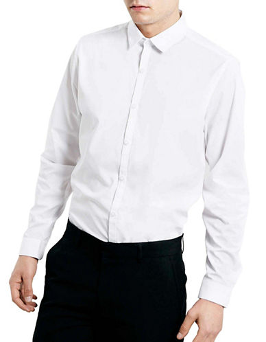 Topman Slim Fit Sport Shirt-WHITE-Medium