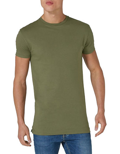 Topman Muscle Fit Longline T-Shirt-KHAKI-X-Large
