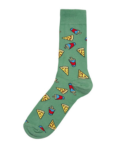 Topman Pizza and Shake Socks-GREEN-One Size
