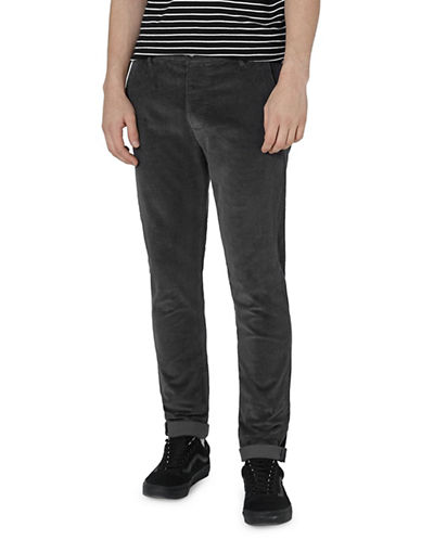 Topman Skinny Fit Corduroy Trousers-GREY-28 Short
