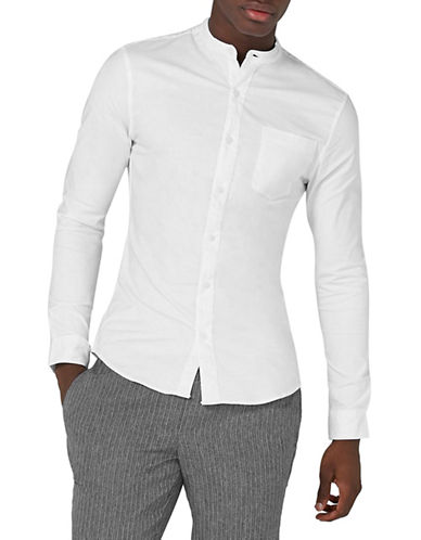 Topman Muscle Fit Oxford Shirt-WHITE-X-Small