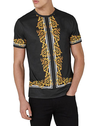 Topman Slim Fit Baroque T-Shirt-BLACK-Medium