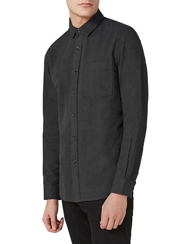 Topman Classic Fit Flannel Sport Shirt-GREY-Large