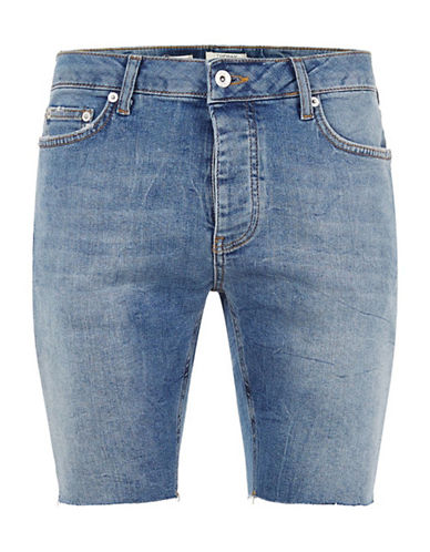 Topman Skinny Fit Raw Edge Denim Shorts-MID BLUE-32