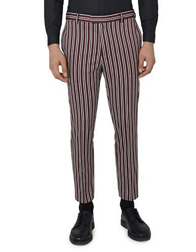 Topman Skinny Fit Stripe Suit Pants-BURGUNDY-38