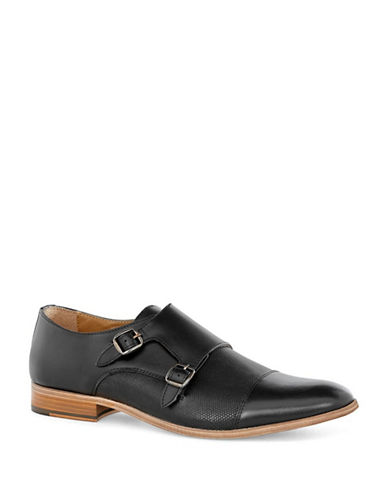 Topman Baker Leather Monk Shoes-BLACK-43