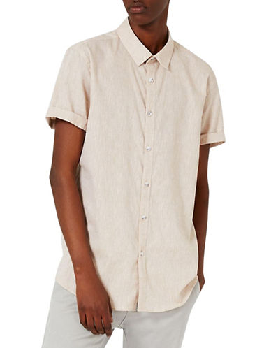 Topman Short Sleeve Casual Shirt-BROWN-Small