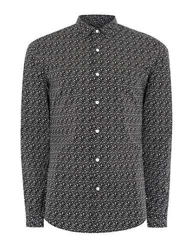 Topman Geo Print Stretch Skinny Fit Sport Shirt-GREY-Small
