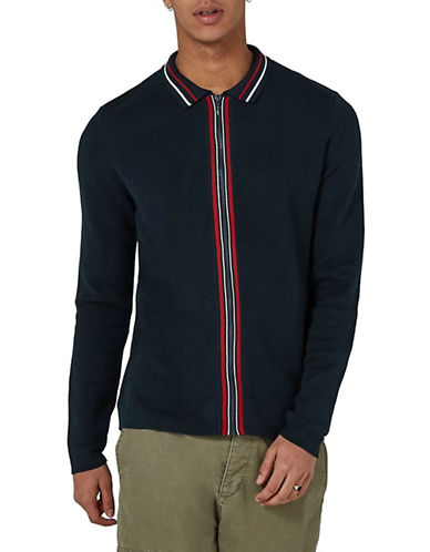 Topman Slim Fit Zip Shirt-NAVY BLUE-Large