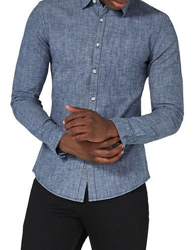 Topman Muscle Fit Chambray Shirt-BLUE-Medium