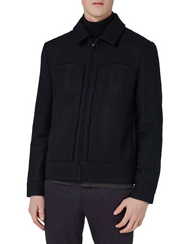 Topman Classic Fit Wool-Blend Western Jacket-DARK BLUE-X-Small