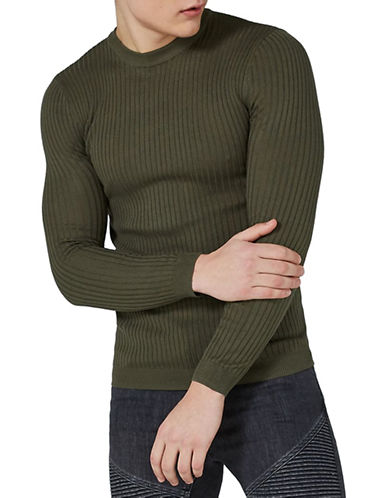 Topman Muscle Fit Twist Sweater-KHAKI-Small