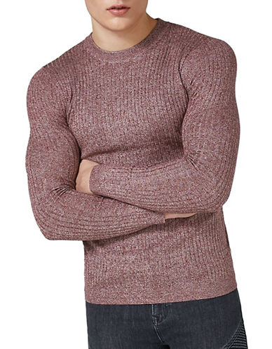 Topman Muscle Fit Twist Sweater-BURGUNDY-X-Small