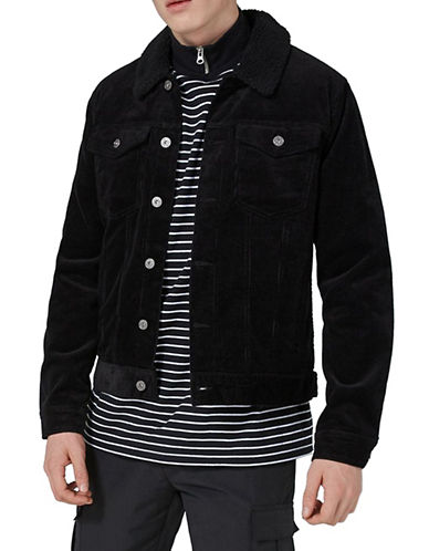 Topman Corduroy Jacket-BLACK-Large