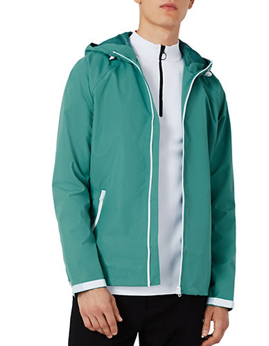 Topman Solid Hooded Windbreaker-BLUE-Large