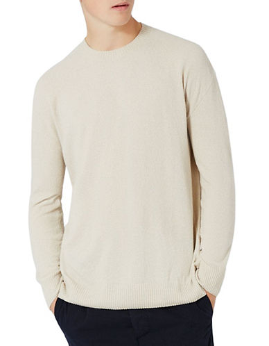 Topman Textured Crew Sweatshirt-GREY-X-Small