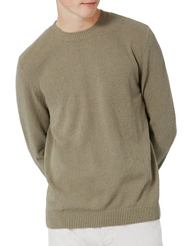 Topman Slim Fit Textured Boucle Sweater-BEIGE-Small