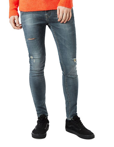 Topman Zippa Ripped Spray-On Skinny Jeans-BLUE-34