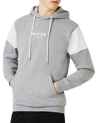 Topman NICCE Logo Hoodie-LIGHT GREY-Small