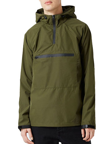 Topman Dallas Overhead Half-Zip Jacket-KHAKI/OLIVE-Medium