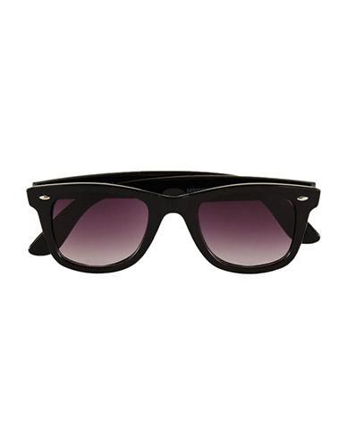 Topman Glossy Round Sunglasses-BLACK-One Size