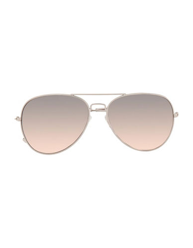 Topman Mirrored Aviator Sunglasses-METALLIC-One Size