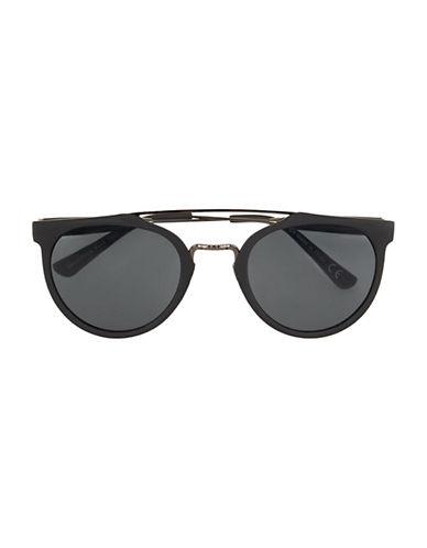 Topman Matte Round Sunglasses-BLACK-One Size