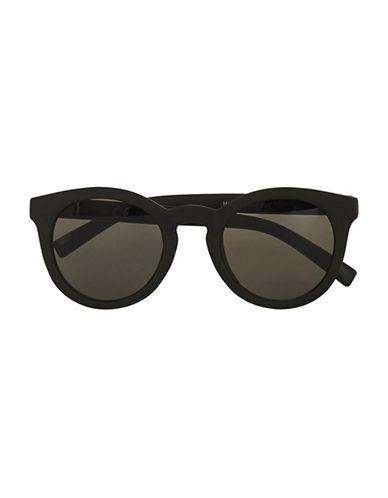 Topman Rubberized Round Sunglasses-BLACK-One Size
