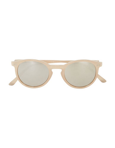 Topman Mirrored Round Sunglasses-OFF WHITE-One Size