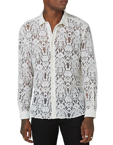 Topman Lace Button-Down Shirt-WHITE-Medium