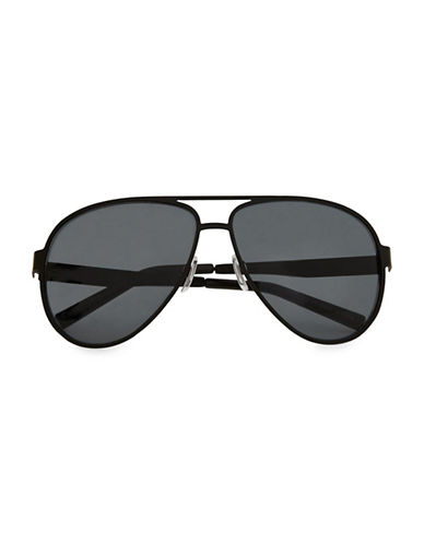 Topman Framed Aviator Sunglasses-BLACK-One Size