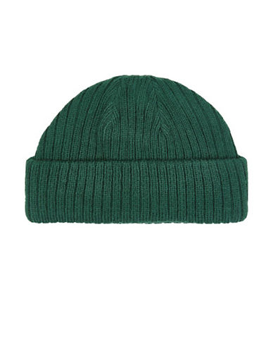 Topman Roll Beanie-DARK GREEN-One Size