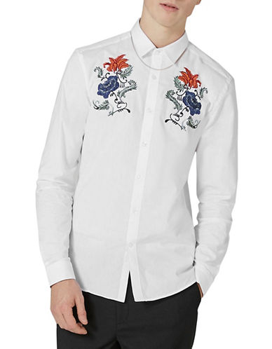 Topman Slim Fit Floral Embroidered Shirt-WHITE-Large