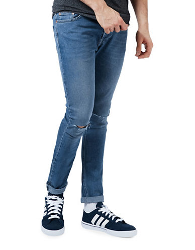Topman Freeway Ripped Stretch Skinny Jeans-BLUE-32 Long
