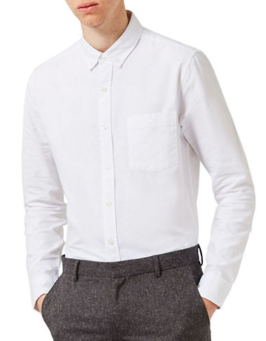 Topman Button-Down Collar Sport Shirt-WHITE-Medium